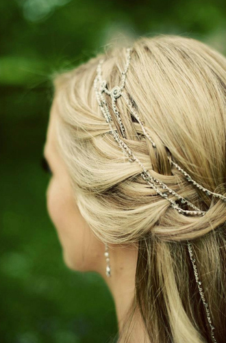 jewels headband silver chain link braid hair wedding hairstyles prom beauty hipster wedding