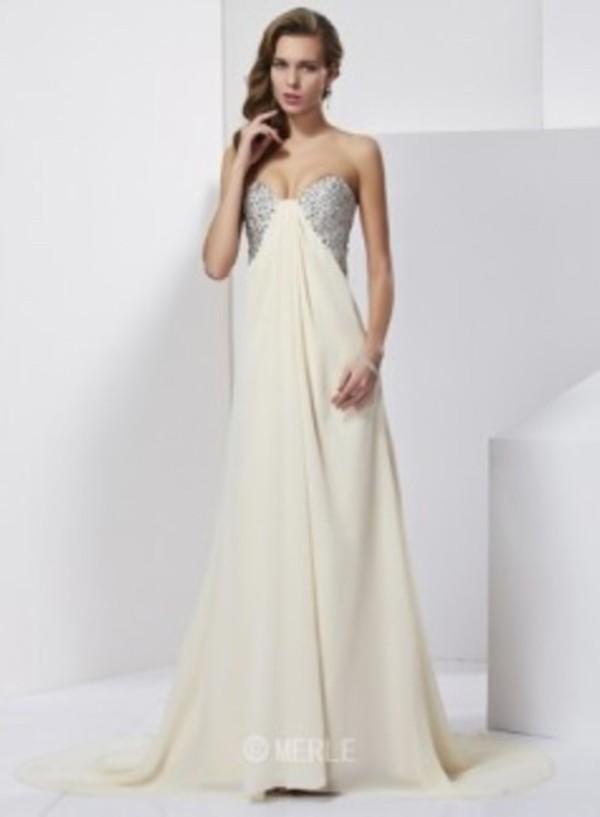 dress cream prom dress open back long