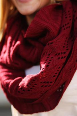 Fall semester knitted infinity scarf in maroon