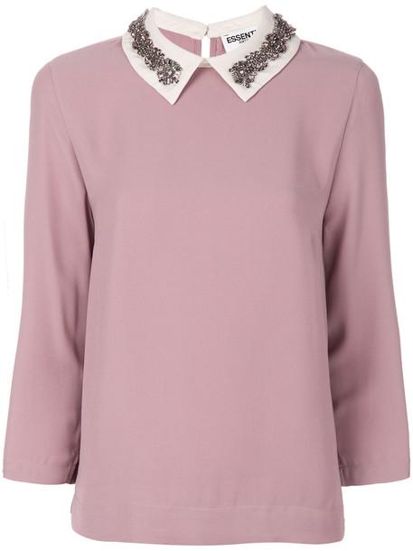 blouse women embellished purple pink top