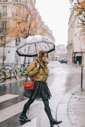 jacket,tumblr,mustard,puffer jacket,umbrella,skirt,tights,opaque tights,boots,black boots,bag,red bag