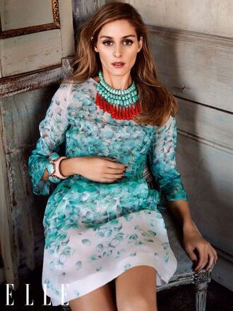 dress floral dress spring dress aqua turquoise jewelry olivia palermo editorial statement necklace