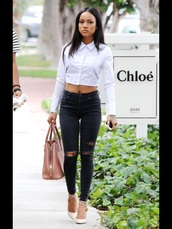 top,karrueche,white,crop tops,crop,button up,jeans,ripped jeans,white crop tops,white top,outfit,celebrity style,pretty,cute,clothes,classy,spring outfits,party,shirt,white shirt