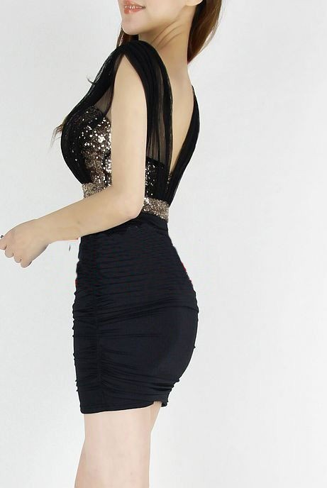 Outletpad | Deep V Neck Sequin Embellished Party Dress Black | Online Store Powered by Storenvy