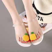 shoes,pineapple,yellow,green,white,clear,jellies