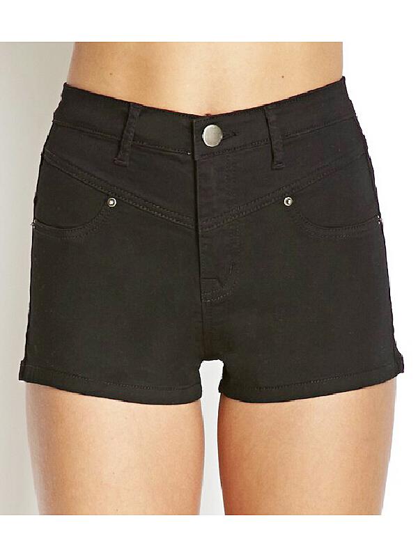 Solid color black high waisted slim denim hot pants