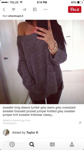 sweater grey knit sweater