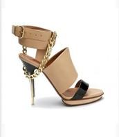 shoes,lanvin,chain,sandals,chain sandals,beige,tan,nude,black,straps,gold