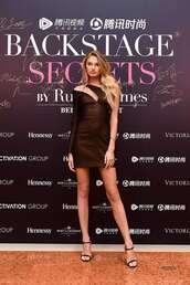 dress,asymmetrical,asymmetrical dress,romee strijd,model,mini dress,one shoulder dress