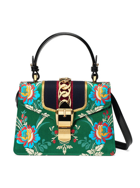 mini metal women jacquard bag mini bag floral leather suede silk green