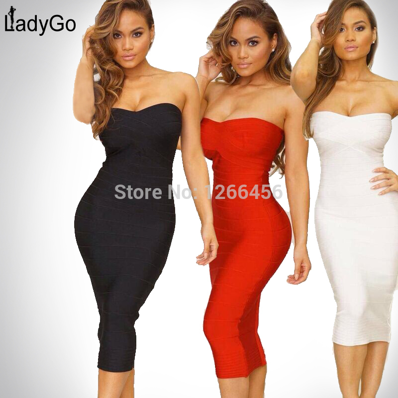 Aliexpress.com : Buy LADY GO 2014 Autumn Sexy Rayon Strapless Simple Mid Calf Tight Cocktail Party Dress Bandage Dress H041C,wholesale,drop ship from Reliable dress code business casual suppliers on Lady Go Fashion Shop