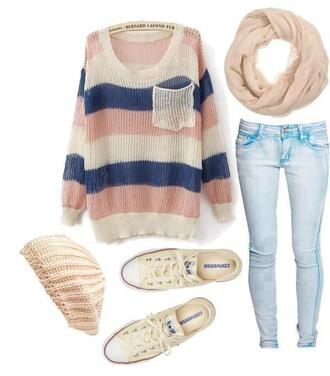 sweater knitwear striped sweater scarf jeans brands clothes stripes stripedsweater denim pockets fall outfits winter outfits october november shoes outfit cute girly converse girl fashion hat warm navy light pink warm sweater cute outfits blouse hat beanies blue skinny jeans oversized sweater knitted scarf light pink scarfs shirt colorful multicoloured sweater blue cream knit pants i really want this whole outfit can you help me find it !!! back to school beige oversized all please xx top t-shirt cardigan winter sweater white beanie infinity scarf baggy sweaters hair accessory bernard lafond bernard lafond furs pink blue and white baggy top pastel rose creme jumper pullover casual chill comfy whereto style