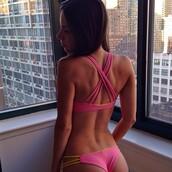 swimwear,crossed straps,pink swimwear,jen selter