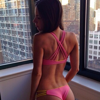 swimwear crossed straps pink swimwear jen selter