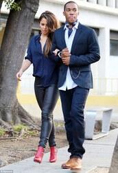 blouse,blue,dark blue,cheryl cole,top,button up,pants
