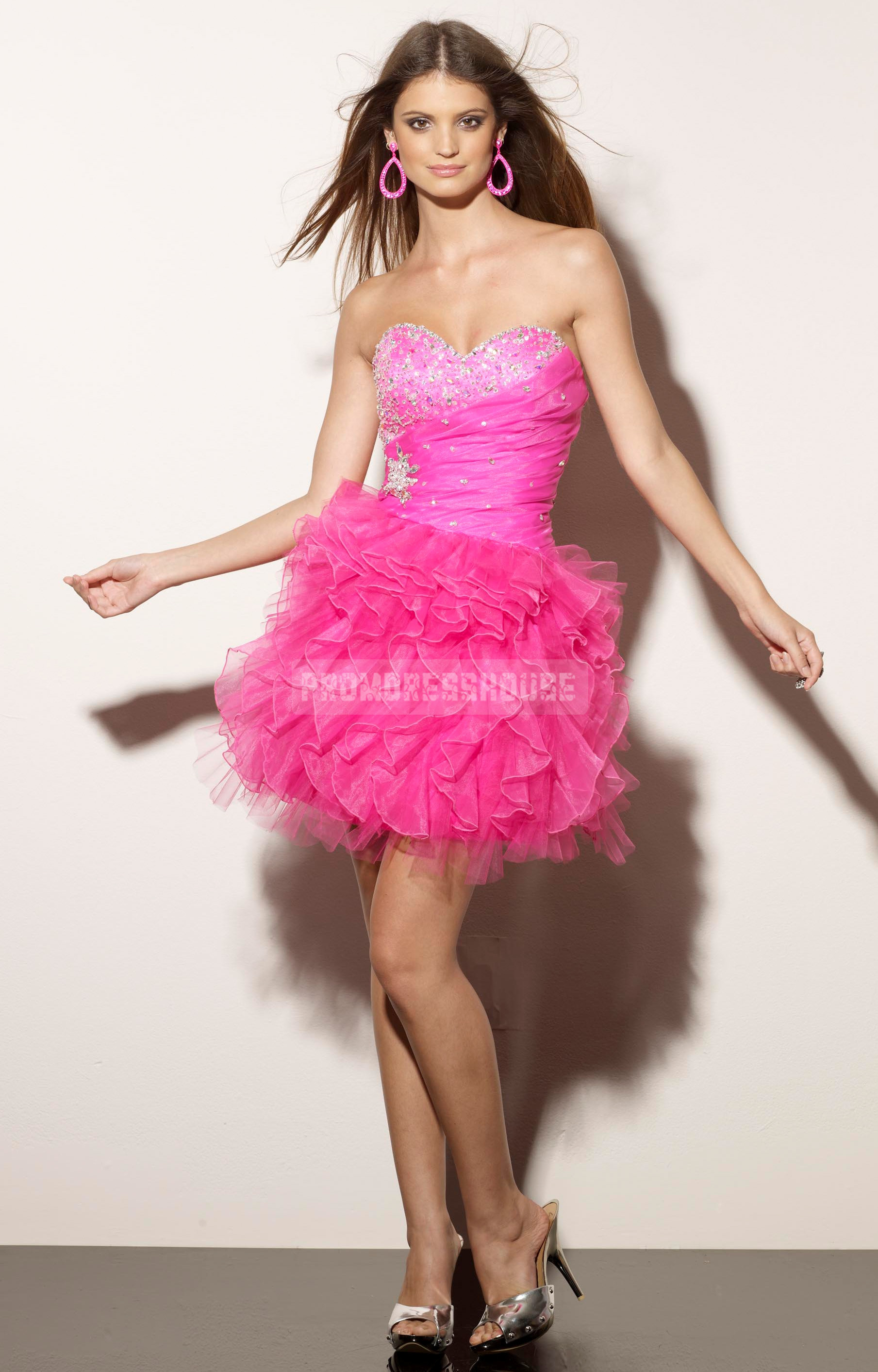 Short Length Baby Doll Glamorous Sweetheart Tulle Ruffles Cocktail Dress - Promdresshouse.com