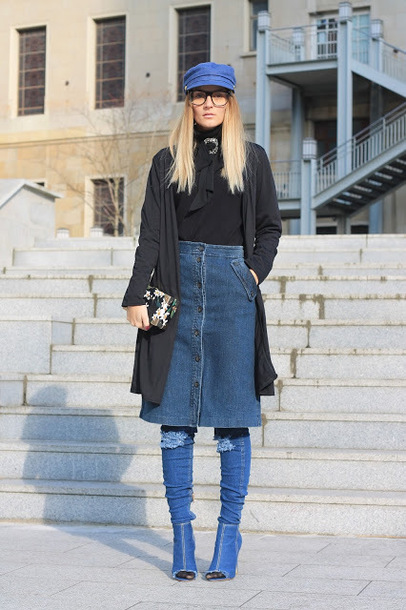 from brussels with love blogger sweater cardigan skirt shoes bag jewels fisherman cap boots denim boots button up denim skirt denim skirt clutch black blouse winter outfits