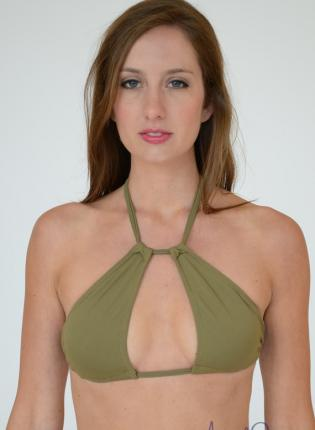 Green Swimsuit - BYOS: Keyhole Halter Top | UsTrendy