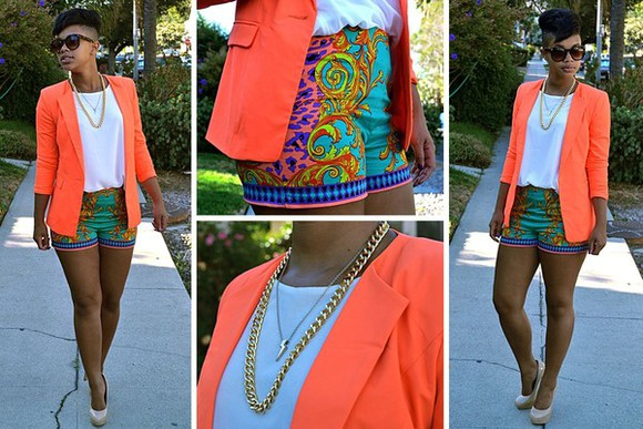 mary kate olsen dress shorts blazer chain white blue clothes high heels jewels orange yellow green summer t-shirt gold necklace nude urban selena gomez bright colors print outfit trendy Scarf Print stylish tropical print colorful shirt gold chain peach light blue blue shirt Cute blouse jacket shoes