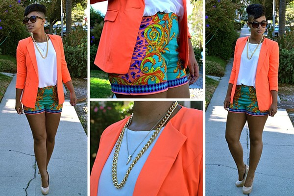 printed shorts neon gold chain gold necklace summer shorts blazer summer outfits colorful shorts pants coral