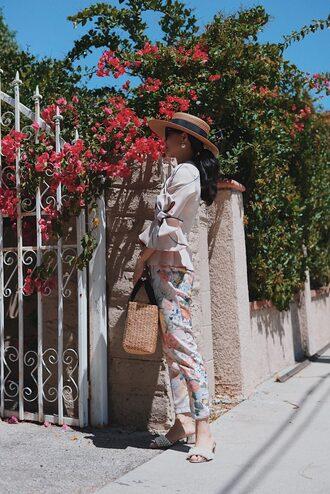 hat top bell sleeves tumblr sun hat pants floral floral pants bag basket bag shoes slide shoes