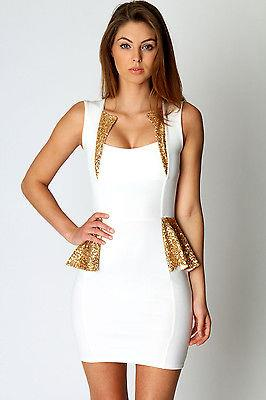 Womens Mini Dress Club Wear Party Evening Sexy Gold Sequinned White Peplum 8 10 | eBay