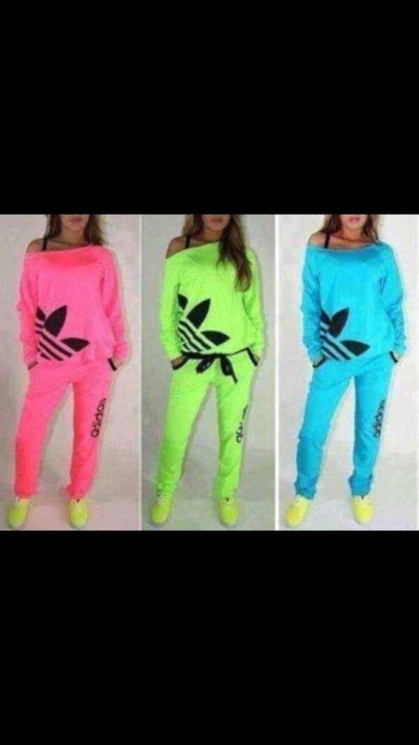 sweater sportswear adidas pink clothes sporty lime light blue gym athletic sportswear shirt jumpsuit adidas