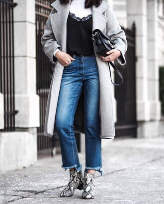 coat tumblr grey oversized coat grey coat masculine coat top black top lace top black lace top jessica alba denim jeans blue jeans cropped jeans boots printed boots snake print snake print ankle boots ankle boots mid heel boots bag black bag