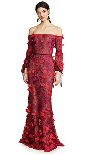 Marchesa Notte gown embroidered red dress