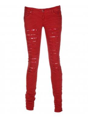 Womens Orange Ripped Denim Straight Leg Jeans