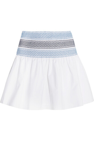skirt mini skirt mini cotton white blue