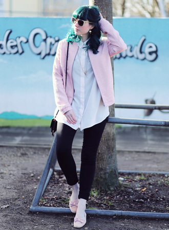 like a riot blogger white shirt pink jacket black jeans green hair spring jacket