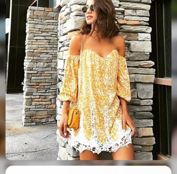 dress off the shoulder dress mini dress yellow dress summer dress