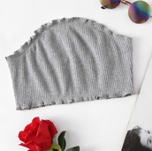 top,girly,grey,frilly,crop tops,crop,cropped,bandeau,bandeau top