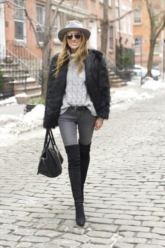 mind body swag blogger hat belt fluffy cable knit turtleneck grey jeans sweater jeans coat shoes bag sunglasses grey cable knit sweater fur coat black fur jacket