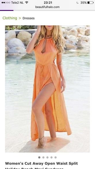 dress orange summer beach hot maxi dress spring beautifulhalo