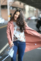 sensible stylista,blogger,sweater,jeans,bag,shoes,jacket,pink coat,handbag,spring outfits