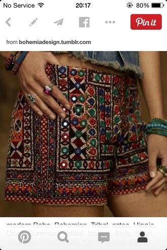 shorts aztec jewels boho sparkly beads unique different