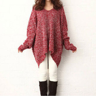 sweater red red sweater cute cute dress oversized sweater fall outfits fall sweater comfy warm knitwear knitted sweater v neck winter sweater winter outfits asian college back to school oversized t-shirt wool wool sweater white uzzlang korean fashion korean style fashion winter coat rose wholesale