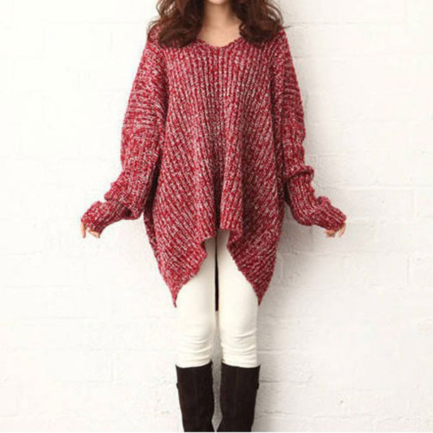 Sweater: leisure, sleeve, pure color, red, red sweater, cute, cute ...
