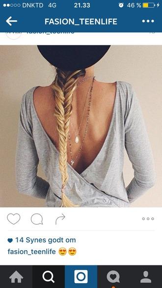 blouse grey blouse open back