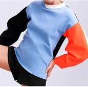 sweater,shirt,sweatshirt,blue,light blue,black,orange,white,multicolor,colorblock,colorful,top,long sleeves