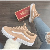 shoes,coffee,tan,vans of the wall,vans,old school,old skool vans,peach & white vans,vans.  these color?,old skool,sneakers