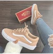 shoes,coffee,tan,vans of the wall,vans,old school,old skool vans,peach & white vans,vans.  these color?,old skool,sneakers,nude,cream,beige,peach vans,khaki