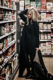 en vogue coop,blogger,blonde hair,shearling jacket,black,sweater,shoes,coat,scarf,jewels