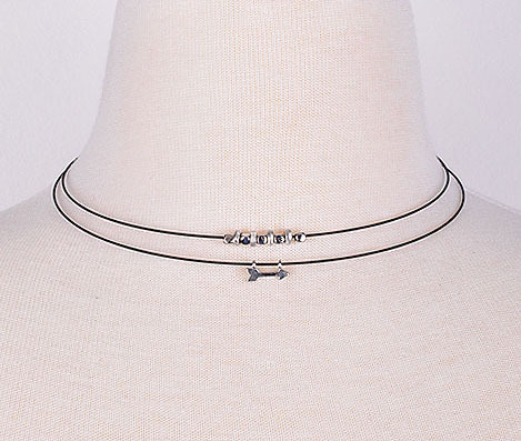 Dainty Arrow Layered Cord Choker Necklace