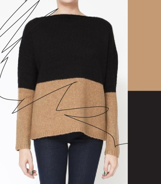 beige sweater black sweater