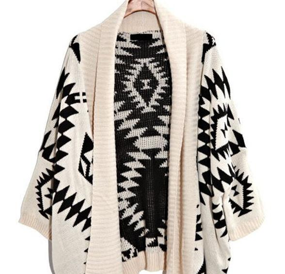 Black and white geometric cardigan girls