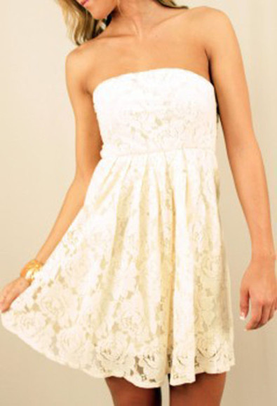 ivory dress dress lace dress white dress strapless dress