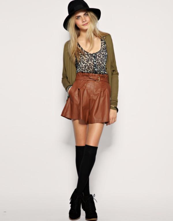Brown Leather Skirt - Skirts